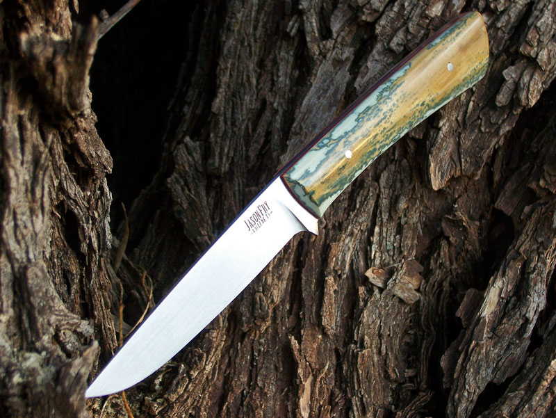 Fry Custom Knives » Mammoth Ivory Bird and Trout